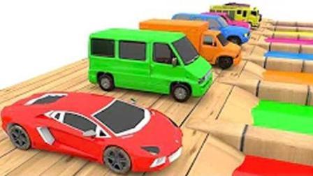 玩具动画视频 救护车 卡车 汽车 消防车一起来染色