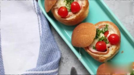小面包还可以做出这样的花样, 火腿、鸡蛋, 想想都要流口水