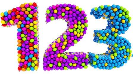 彩色足球组成数字冰棒