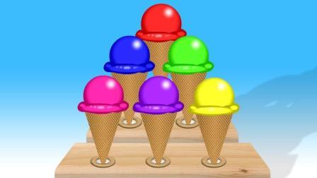 彩色冰淇淋叠高高制作蛋筒