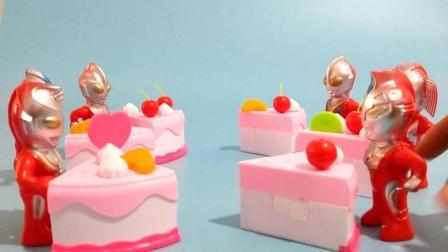奥特曼成员分蛋糕儿童亲子玩具