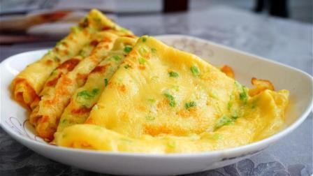 两个鸡蛋半碗面粉做好吃的早餐饼, 不加一滴水, 出锅那一刻看饿了