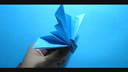 儿童趣味手工折纸: 立体孔雀开屏折法