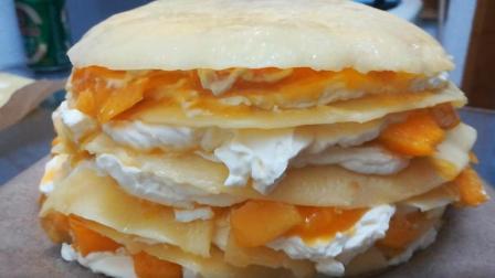 芒果千层蛋糕的做法, 第一次做就成功了, 和煎鸡蛋饼差不多