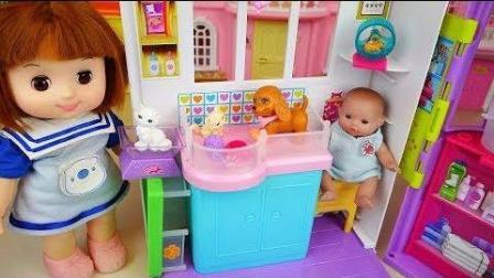 0383 - 婴儿娃娃和宠物护理屋玩具娃娃公园玩