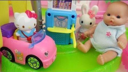 0394 - 婴儿娃娃汽车汽车店和Hello Kitty玩具娃娃娃玩房子