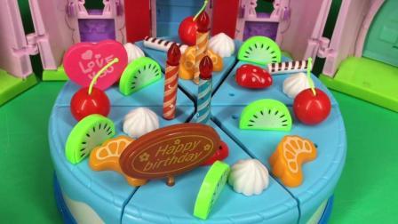 兜糖小猪佩奇玩具 小猪佩奇一家生日蛋糕切切乐