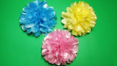 清明节手工, 垃圾袋做花漂亮又简单, 幼儿园小朋友都会做