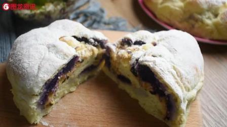 美食达人教你做紫薯肉松软欧包, 舌尖上的极品美味!