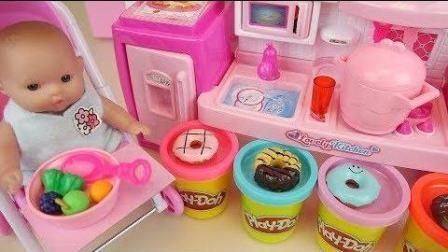 0409 - 婴儿娃娃和玩甜甜圈烹饪玩具娃娃玩娃娃玩
