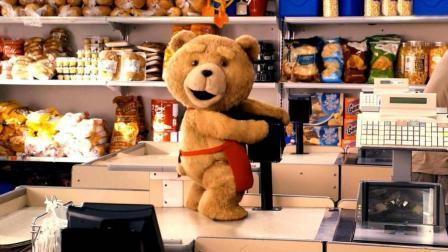 收银员泰迪熊, 贱贱的动作, 引得美女大笑不止!