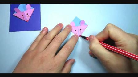 儿童趣味手工折纸: 小老鼠书签的折法教程