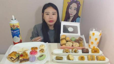 韩国大胃王卡妹吃超多甜点, 苹果派和和各种饼干
