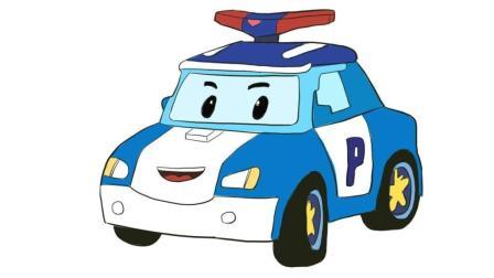 变形警车珀利儿童卡通简笔画