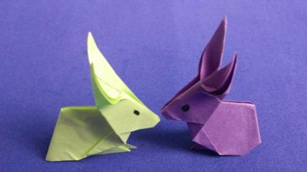 可爱的兔子折纸, 一分钟学会美术创意手工制作, 手工折纸视频!