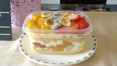 朋友圈网红美食, 水果盒子蛋糕, 做法简单携带方便, 一口气吃完一大盒