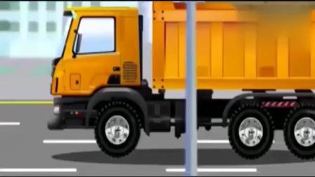 宝宝早教动画: 儿童工程车, 翻斗车运木材, 被修理工整蛊翻车