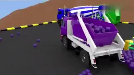 宝宝早教游戏: 汽车排队通过彩豆桥, 学习颜色与车辆