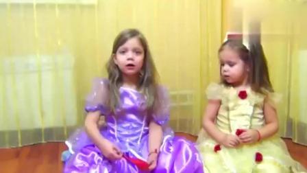 宝宝趣味早教: 小萝莉姐妹用魔法棒变气球, 学习颜色