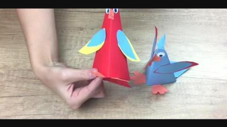 儿童趣味手工折纸: 亲子互动, 纸鹦鹉的折法教程