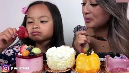 泰国吃货微笑妹母女俩, 吃4块水果蛋糕, 女儿开心的像个小公主