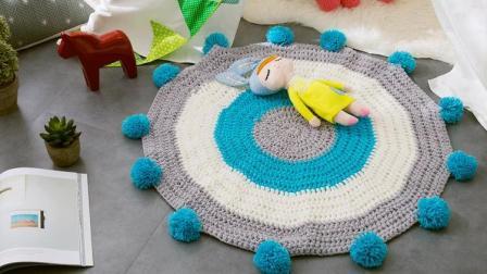 悦悦手作钩针毛线教程地垫婴儿ins风撞色毛球毯子