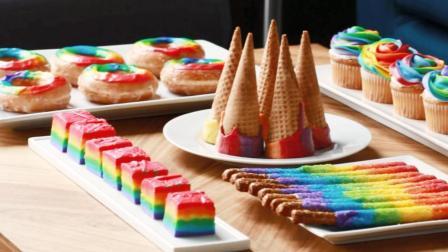 我的天! 她家是不是住在彩虹里, 吃个蛋糕都是七种颜色的?