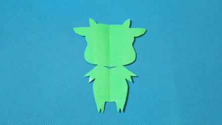 剪纸小课堂: 小牛牛第二款绿色, 儿童喜欢的手工DIY, 动手又动脑