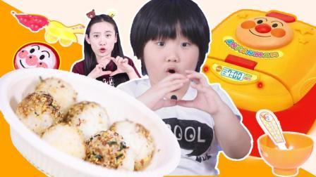美莉玩具酷 做好吃到尖叫的日式海苔饭团!日本食玩面包超人的电饭煲