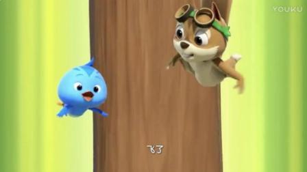 萌鸡小队: 欢欢胆子大, 跟着飞鼠学飞行, 从树上掉下来了
