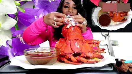 吃蟹阿姨换口味了, 这次改吃大龙虾啦! 全程再看她的指甲!