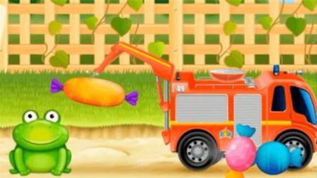 起吊车有耙子抓起了美味的糖果送给青蛙王子吃 大卡车视频