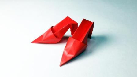 手工创意折纸大全, 教你用纸折一双高跟鞋