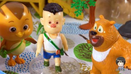 萌鸡小队小琦故事萌鸡小队兄妹热情招待熊熊乐园里的光头强和熊二来家里做客