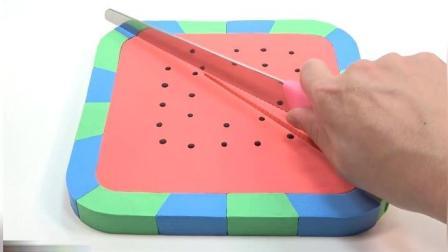 魔力太空沙DIY: 带宝宝DIY做个方形大西瓜, 教给宝宝识别颜色