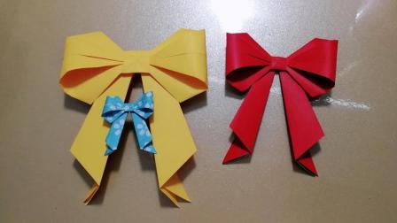 折纸精美可爱的蝴蝶结, 一张纸就能轻松折出漂亮的蝴蝶结, 女生们的最爱哦!