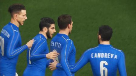【实况足球2018】意大利2-0瑞士, 蓝衣军团意大利快速反击瑞士队。贝洛蒂, 贝尔纳代斯基破门
