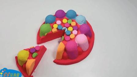 七彩水果蛋糕做起来一点也不难, 太空沙创意新玩法视频送给你!