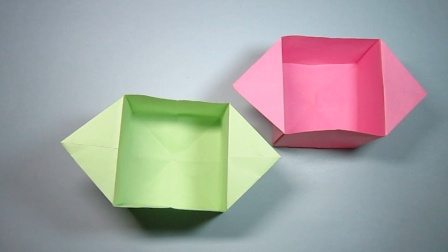 一张长方形纸折出的漂亮收纳盒,简单的折纸盒子,DIY手工制作