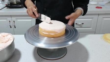 四种抹面制作(十五): 放上第二层蛋糕胚并抹面