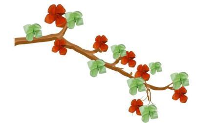 简单的立体折纸花, 折几朵装饰在枯树枝上太漂亮了, 手工折纸视频教程