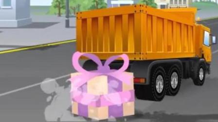 儿童玩具车动漫: 出租车听音乐被警车盯上, 卡车把蓝色小车的生日蛋糕掉在马路上
