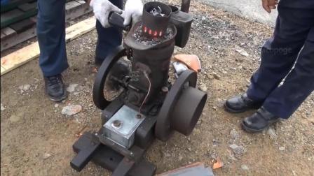 古老的日本柴油机, 启动方式很特别, 长见识了!