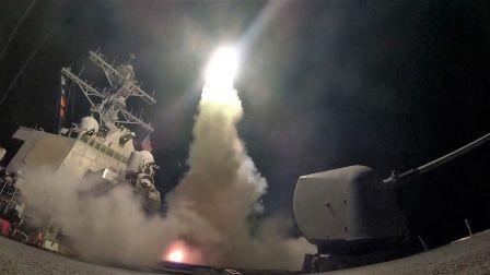 打击叙利亚!美国海军-发射战斧巡航导弹-空袭叙利亚境内的军事基地 2018年4月14日。
