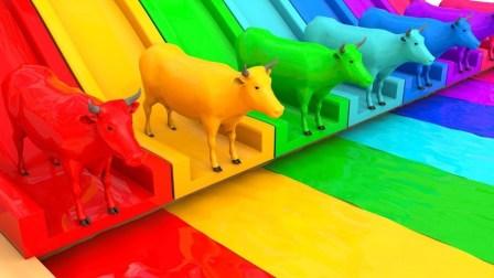儿童学英语 母牛颜色水滑车 儿童公交车歌曲 儿童教育视频 【 俊和他的玩具们 】