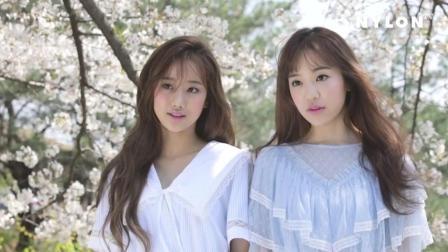 人比花俏! 樱花树下韩国姐妹花唯美写真