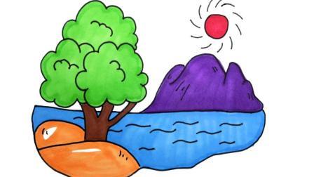 儿童简笔画 儿童卡通山水风景简笔画