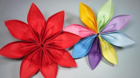 简单又漂亮的花朵3分钟就能折出来, DIY手工折纸花
