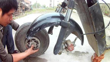 哈雷电动车前插变形维修 修正过程