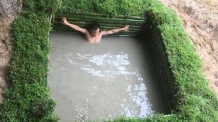厉害! 男子自建天然游泳池, 这里面游起来肯定爽爆了